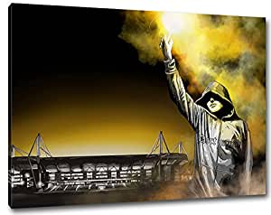 dortmund pyro kunst stadion bild auf leinwand xl fertig gerahmt 80 x 60 cm. Black Bedroom Furniture Sets. Home Design Ideas