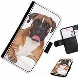 Hairyworm- Chiens Samsung Galaxy S3 Mini (I8190, I8190N) étui en cuir pour téléphone avec rabat, style portefeuille avec emplacements pour les cartes et l'espèce, et fermeture magnétique.