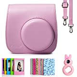 Fujifilm Instax Mini 8 Instant Camera Accessory Bundles Set (Included: Pink Mini 8 Vintage Case Bag/ Pink Rabbit Design Mini 8 Close-Up Lens(Self-Portrait Mirror)/ 3 Inch Photo Frame/ Colorful Decor Sticker Borders)