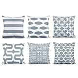 Top Finel Soft Pillows Luxury Cushion Covers Square Pillowcase Decorative Sofas Beds Chairs Set of 6, 18 x 18 Inch,Grey Series