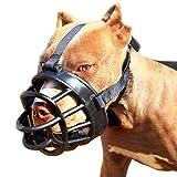 Jinzhao Maulkorb-Soft Basket Muzzle für Hunde Anpassbar und Komfortabel Sicherer Sitz, Beste Vorbeugung Gegen Beißen, Kauen und Bellen Kopf Schnauze 13.4-18.9''