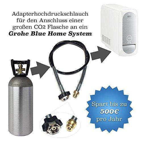 Adapter-Hochdruckschlauch 2 Meter für grössere CO2 Flaschen geeignet für Wassersprudler Grohe Blue Home CO2 Schlauch