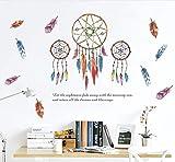 Pluma colorida Dreamcatcher Pegatinas de Pared Para la Sala de estar Dormitorio Decoración de Pared Calcomanías de Vinilo Extraíbles Arte Murales de Pared Decoración para el hogar