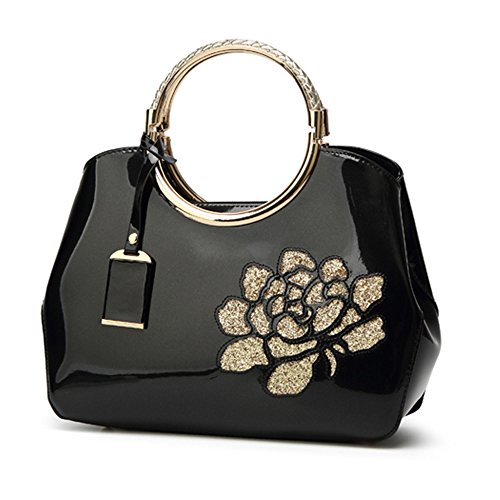 FavoMode, Borsa a mano donna arancione Orange Handbag taglia unica Black Handbag with Flower