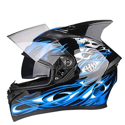 YUJIE Integralhelm Motorradhelm Mit Doppelvisier Sonnenblende Für Damen Herren Erwachsene Helm Modular,Blue(4)-L(57-60cm)