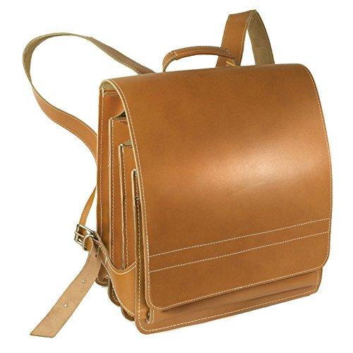 Sehr Großer Lederrucksack / Lehrerrucksack Größe XL aus Leder, für Damen und Herren, Cognac-Braun, Modell 670 (Leder-rucksäcke Handgefertigtes)