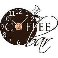 Wandtattoo Uhr mit Uhrwerk Wanduhr für Küche Spruch Coffeebar Kaffeetasse Kaffee (Uhrwerk kupfer//080 braun)