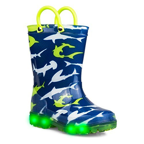 Zoogs Light-up Rain Boots for Boys & Toddlers - Sharks Rainboot, Pull Handles