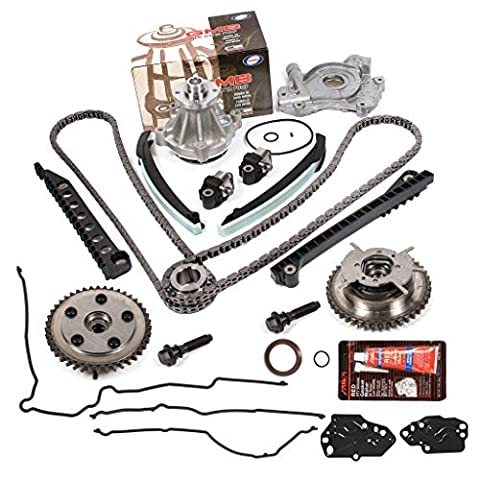 Evergreen TKTCS6068GWOP 04-08 Ford F150 F250 Lincoln Navigator TRITON 5.4 SOHC 3-Valve Timing Chain Kit Cam Phaser Water Pump Oil Pump Timing Cover Gasket by Evergreen Parts And Components