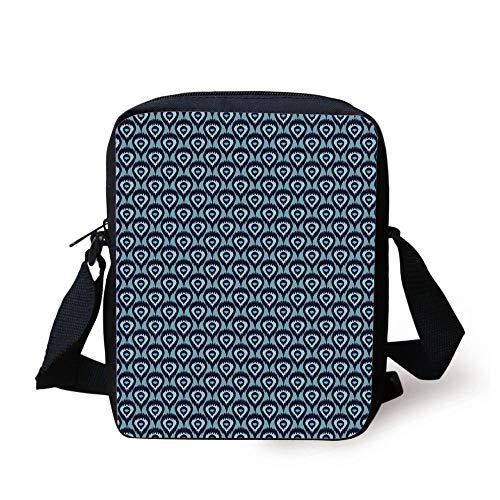 Pattern Abstract Geometric Elements Soft Peacock Tail Pattern Decorative,Pale Blue Dark Blue Print Kids Crossbody Messenger Bag Purse ()