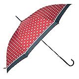 Clayre & Eef JZUM0007R Damen Stockschirm rot große Punkte Regenschirm Schirm
