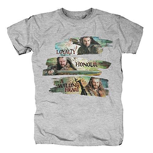 TSP Der Hobbit - Characters T-Shirt Herren L Grau (Frodo Billig Beutlin Kostüm)