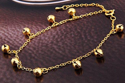 Skyllc® Fußkette Fusskettchen Metall Glöckchen Gold Farbe 6mm
