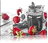 fruchtige Erdbeeren vor Marmeladenglas schwarz/weiß Format: 60x40 auf Leinwand, XXL riesige Bilder fertig gerahmt mit Keilrahmen, Kunstdruck auf Wandbild mit Rahmen, günstiger als Gemälde oder Ölbild, kein Poster oder Plakat