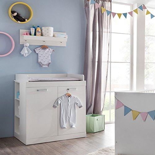 Preisvergleich Produktbild Wickelkommode / Wickelschrank SUNNY mit Regal und Wandboard in Weiß Maße: 90x103x76cm - Brandneues Modell!!
