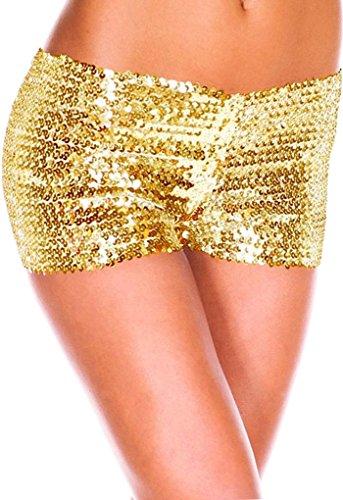 ZKOO Femmes Short Paillette Sexy Pantalon Court Moulante Club Mini Yoga Jogging Plage Clubwear Casual Or jaune