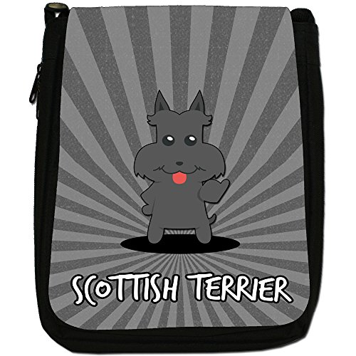 Scozzese Cartoon cani medium nero borsa in tela, taglia M Scottish Terrier, Scottie