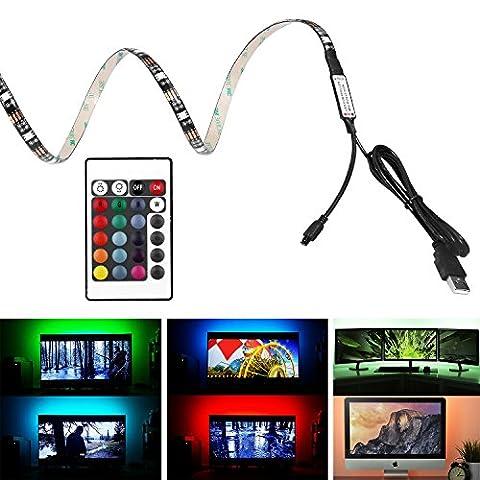 HDTV Rétroéclairage Éclairage USB LED Strip Lights Décoration en néon Accent Décoration Multi Color RGB Lights Kit système avec télécommande sans fil pour HDTV Téléviseur à écran plat Accessoires et PC de