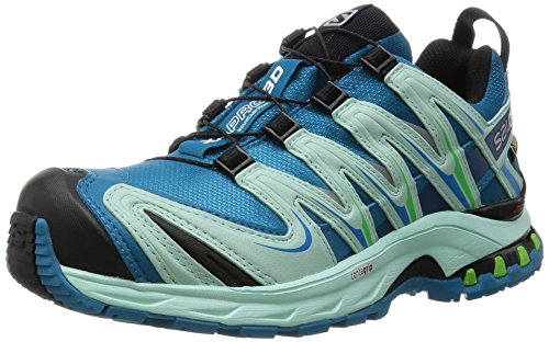 Salomon - Xa Pro 3D Gtx® - Chaussures de Trail - shoes - femme - Bleu (Fog Blue/Igloo Blue/Tonic Green) - 38 (Taille fabricant: 5)