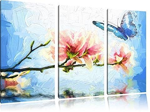 Papillon bleu avec Magnolia Blossom Art Brush Effect 3 PC image toile l'image 120x80 sur toile, XXL énormes Photos complètement encadrées avec civière, impression d'art sur châssis murale gänstiger comme la peinture ou une peinture à l'huile, pas une affiche ou une