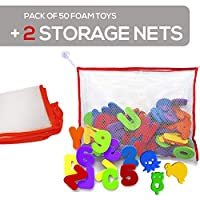 BeBesafety Bath foam letters numbers with sea life shapes with toy storage organizer net - Non toxic educational fun toy kids! + FREE storage bags / nets