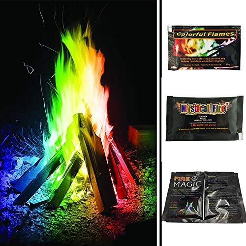 ische Feuerfarbe Flames Pulver Magic Farbwechsel Feuer Lagerfeuer Feuerstelle Feuerstelle Terrasse Outdoor Aktivitäten Karneval Party Supplies (10 g) ()
