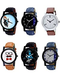 NIKOLA New Exclusive Mahadev Beard Style Black Blue And Brown Color 6 Watch Combo (B22-B37-B44-B53-B23-B40) For...