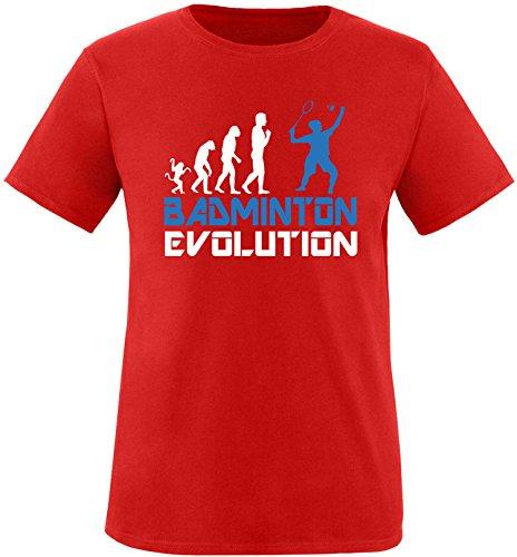 EZYshirt® Badminton Evolution Herren Rundhals T-Shirt Rot/Weiss/Blau