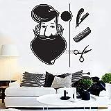 yaoxingfu Barbe Salon De Coiffure Boutique Stickers Muraux Vinyle Decal Creative...