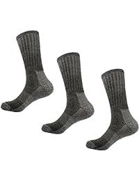 Calcetines de lana Merino Blend Crew- Caudblor Calcetines de media pantorrilla térmica para hombres, 3 pares