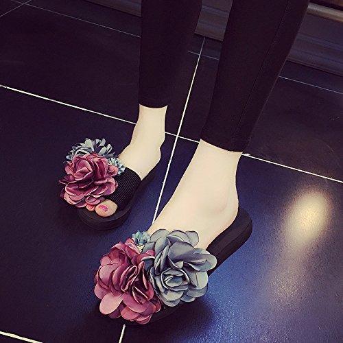 HGTYU-Fatte a mano pantofole asolati e fiori freschi pantofole stile casual Wear Beach35 37