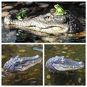 Balight Testa di Coccodrillo Galleggiante Giardino Stagno Piscina Alligatore Realistico Caratteristiche dell'Acqua Decorazioni Ornamento per Piscina Resina Galleggiante Testa di Coccodrillo Utile