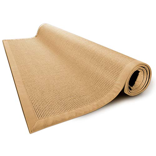 *casa pura® Sisal Teppich aus Naturfasern mit Bordüre aus Baumwolle | Pflegeleicht | Größe wählbar (Natur, 160 x 230 cm)*