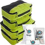 Packwürfel 4pcs Wert Set für Reisen - Plus 6pcs Gepäck Veranstalter Zip Beutel(Green)