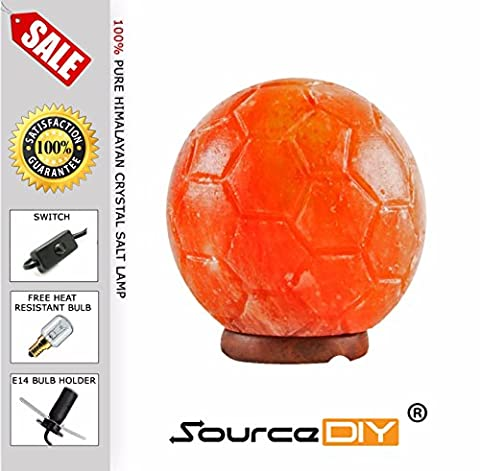 SOCCER FOOTBALL STYLE NATURAL HAND CARVED HIMALAYAN PINK CRYSTAL ROCK SALT LAMP WITH BUTTON SWITCH AND BRITISH STANDARD ELECTRIC PLUG. SOCCER FOOTBALL SHAPE 100 % PREMIUM AND FINE QUALITY LAMP BY SOURCEDIY®