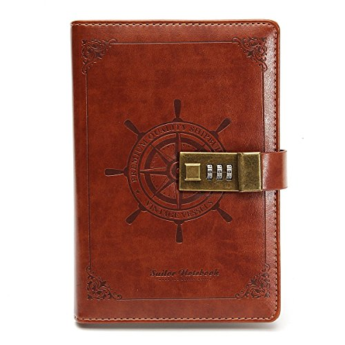 Leather Journal Writing Notebook Vintage Brown B6 Rudder Leather Diary Notebook With Combination Lock 112 Sheets As Gift For Art Sketchbook,Travel Journal Meeting Notebooks to Write in