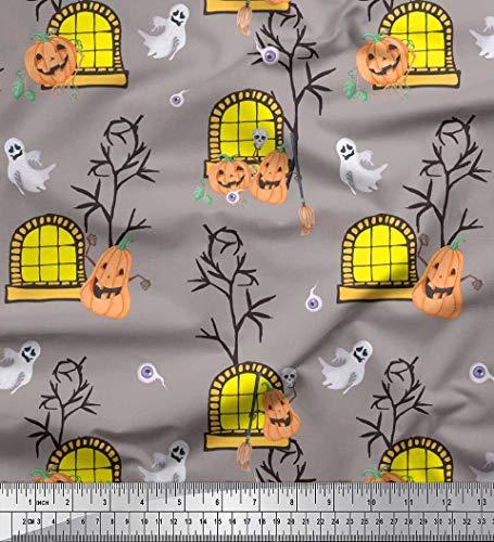 Soimoi Grau Kunstseide Stoff Spukhaus, Kürbis & Geist Halloween gedruckt Craft Fabric 1 Meter 42 Zoll breit (Halloween Wenig Kürbisse Crafts)