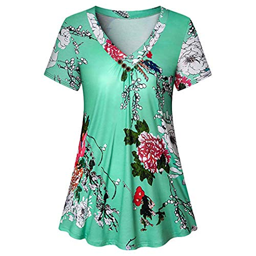 CAOQAO Rustikale Pfingstrose BlüHende Damen Plissee Kurzarm V-Ausschnitt Freizeitjacke(Grün,S)