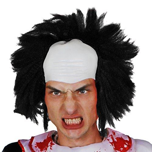 Halloween Wissenschaftler Kostüm - Balding Perücke Kostüm Zubehör - Haare auf Glatzenperücke Style Perücke - Clown WIGM , verrückt Wissenschaftler Perücke perfekt für Halloween Kostüm - erhältlich in vier verschiedene Farben - Schwarz