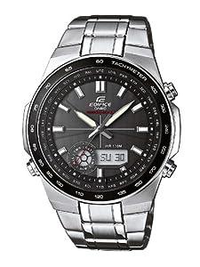 Reloj Casio EDIFICE - digital de caballero de cuarzo con correa de acero inoxidable plateada (alarma, cronómetro, luz, solar) - sumergible a 100 metros de Casio