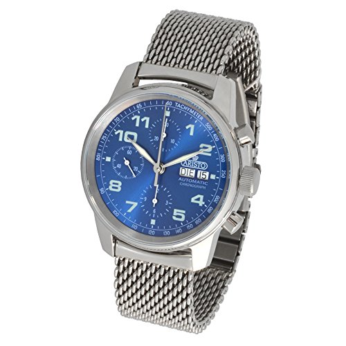 Aristo Cronografo Automatico Uomo Orologio da polso 4h174m ETA valj oux 7750Milanaise braccialetto lucido