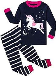 HommyFine Bambine Pigiama per Bambine e Ragazze 2 Pezzi Pigiama a Maniche Lunghe per Ragazze Unicorno Pajama S