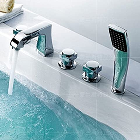 Copper waterfall taps/Tank side Bath/Shower Mixer with five piece of cover/hot and cold water