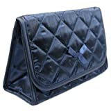 Large , Satin Navy Blue : Cosmetic Bag with a Mirror, Large Size, Satin Navy Blue