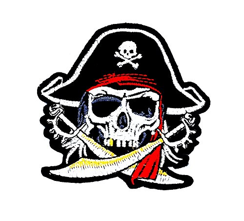 rabana Pirat Schwert Kreuz Totenkopf Ghost Skelett Zombie Badge Motorräder Patch Kinder Cute Animal Patch für Heimwerker-Applikation Eisen auf Patch T Shirt Patch Sew Iron on gesticktes Badge Schild (Kostüm Ghost Kind Piraten)