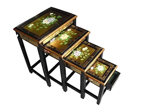 Chinese Oriental Furniture - Gold Leaf Nest of Tables with Glass and Floral Design by China Warehouse Direct