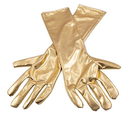 Folat Damen Metallic farbigen Handschuhe-Gold