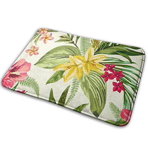 Abigails Home Plumeria und Hibiskus Blumen Matten Teppich Fußmatte Bad Küche rutschfeste Indoor-Eingang 15,7