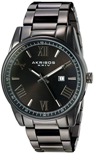 Akribos XXIV à quartz pour homme Noir Coque avec fermeture Accentuée Cadran noir sur noir Bracelet en acier inoxydable montre Ak936b