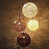 (Furonghuang) Die Kommission Kugel Kronleuchter Lampen Kreative Persönlichkeit Arts Restaurant Bar Retro Lampen Balkon Orbs Sisal Rattan Kronleuchtern, 45 Cm (Kein Licht)